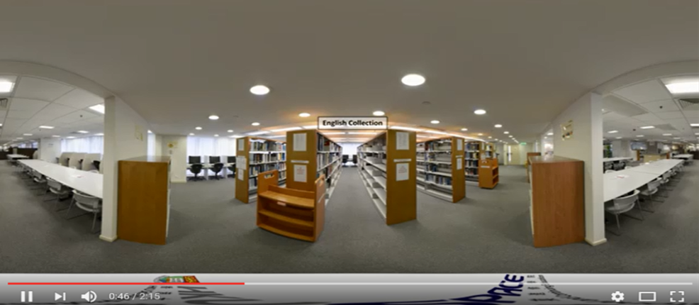 VR screen of a library